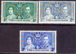 TURKS AND CAICOS ISLANDS 1937 SG #191-93 Compl.set MNH Coronation - Turks And Caicos