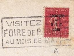 Lettre Paris Congrès Du B.I.T. 1930 Flamme Foire De Paris Bureau International Du Travail - Marcofilie (Brieven)