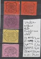 LOT DE TIMBRES DE L ITALIE   NEUF /  * / Nr 22*-15*-23*-24*-25* PAPIER GLACÉ  N/D 1868 COTE   34 € - Etats Pontificaux