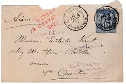 Lettre Type Sage Arras Pas De Calais Saint Quentin Retour à L'envoyeur - 1898-1900 Sage (Type III)