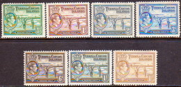 TURKS AND CAICOS ISLANDS 1938-45 SG #195a//202a Part Set 7 Stamps Of 14 MH - Turks And Caicos