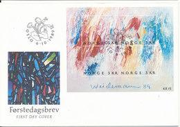 Norway FDC Mini Sheet Modern Painting Jacob Weidemann 6-10-1989 - Modern
