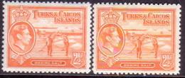 TURKS AND CAICOS ISLANDS 1938-44 SG #199,199a 2½d Both Shades MLH CV £18 - Turks And Caicos