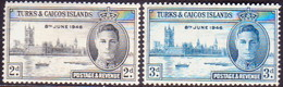 TURKS AND CAICOS ISLANDS 1946 SG #206-07 Compl.set MLH Victory - Turks And Caicos