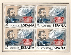 ESPAÑA 1976 - CENTENARIO DEL TELEFONO - GRAHAM BELL - EDIFIL 2311** EN BLOQUE DE 4 - Telekom