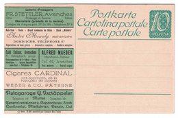 Entier Postal Suisse Avec Publicité : Lait Fromage Beurre Auto Pneu Café Piano Tailleur Cigare Essence Vin Bandage - Voitures