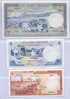 1952 Lebanon Liban  1LL +5 LL +100 LL Set Of 3 Livres Specimen Choice Unc.  (Shipping By EMC  20$) - Lebanon