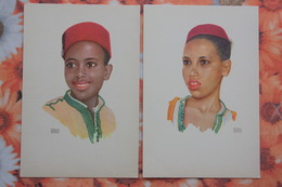 2 PCs Lot - Maroc Morocco - Erwin Hubert Tetuan - Vintage Postcard - Young Boy - Marokko