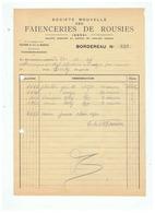 FACTURE FAIENCERIE DE ROUSIES (NORD)  1944 - Alte Papiere