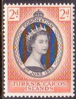 TURKS AND CAICOS ISLANDS 1953 SG #234 2d MNH Coronation - Turks And Caicos