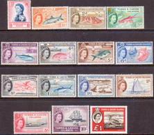 TURKS AND CAICOS ISLANDS 1957-60 SG #237-50+253 Compl.set MNH CV £110 - Turks And Caicos