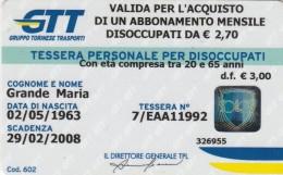 ABBONAMENTO DISOCCUPATI TORINO -PLASTICA DURA (M16.7 - Bus