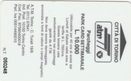 SCHEDA MAGNETICA PARCHEGGIO TORINO - L.10.000 (M27.1 - Tickets - Vouchers