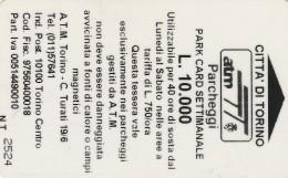 SCHEDA MAGNETICA PARCHEGGIO TORINO - L.10.000 (M27.5 - Tickets - Vouchers