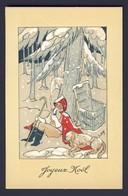 SANTA CLAUS ~ Santa, Cane, Dog, Snow Scene  - Joyeux Noel - L.P.R. Artist Signed - Santa Claus