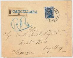 RACCOMANDATA 1912 25+25 TIMBRO CANCELLARA E ARRIVO ENGELBERG (HX1 - 1900-44 Victor Emmanuel III