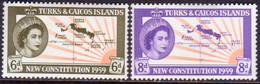 TURKS AND CAICOS ISLANDS 1959 SG #251-52 Compl.set MH - Turks And Caicos