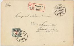RACCOMANDATA 1928 CON FRANCO 45 TIMBRO FIUME-SUSAK AL VERSO (HX191 - Fiume