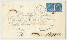 LETTERA 1879 CON COPPIA 10 CENT TIMBRO SINALUNGA-SIENA (HX313 - Marcophilia