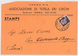 LETTERA 1946 LUOGOTENENZA L.1 ASS.TUTELA CIECHI-CONTENENTE STAMPATO -TIMBRO SIENA (HX351 - 5. 1944-46 Lieutenance & Umberto II