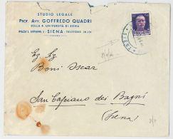 LETTERA 1944 CON CENT.50 REPUBBLICA SOCIALE TIMBRO SIENA-S.CASCIANO DEI BAGNI (HX353 - 4. 1944-45 Repubblica Sociale