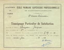 école Primaire Supérieure Professionnelle De Saint-Germain-en-Laye (78), Témoignage De Satisfaction, 1934 - Diploma & School Reports