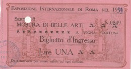 BIGLIETTO ESPOSIZIONE INTERNAZIONALE DI ROMA -PUBBLICITA' FIUGGI (HX376 - Tickets - Vouchers