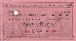 BIGLIETTO ESPOSIZIONE INTERNAZIONALE DI ROMA -PUBBLICITA' FIUGGI (HX377 - Tickets - Vouchers