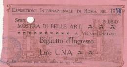 BIGLIETTO ESPOSIZIONE INTERNAZIONALE DI ROMA -PUBBLICITA' FIUGGI (HX378 - Tickets - Vouchers