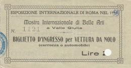 BIGLIETTO MOSTRA INTERNAZIONALE DI BELLE ARTI-PUBBLICITA' FIUGGI (HX379 - Tickets - Vouchers