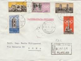 RACCOMANDATA FDC 1959 SERIE PROPAGANDA OLIMPIADE (HX510 - F.D.C.