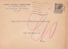 CARTOLINA ANNI 60 RIVISTA ITALIANA ORNITOLOGIA 20 L. (HX601 - 6. 1946-.. Repubblica