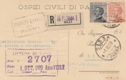 CARTOLINA POSTALE RACCOMANDATA 1929 CENT.30+60 TIMBRO SISSA PARMA (HX621 - 1900-44 Vittorio Emanuele III