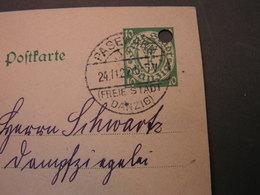 Danzig Pasewalk 1927  Gelochte Karte - Danzig
