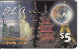 CANADA - Monuments, Ola By Gold Line Prepaid Card $5, Used - Canada