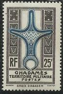 GHADAMES 1949 CROCE D'AGADEM CROIX  25f MNH - Ghadames (1949)
