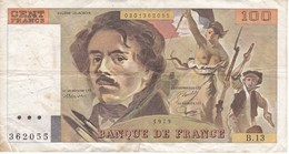 BILLETE DE FRANCIA DE 100 FRANCS DEL AÑO 1979 DE DELACROIX SERIE B (BANKNOTE) - 1962-1997 ''Francs''