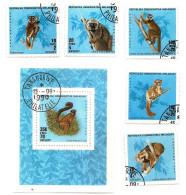 MALAGASY - 1990 - Animals LEMURS-Sc-987-92 USED Full SET + SOUVENIR SHEET USED  (0) - Madagascar (1960-...)