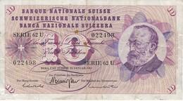BILLETE DE SUIZA DE 10 FRANCS DEL AÑO 1969 (BANKNOTE) - Switzerland