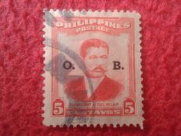 SELLO USADO USED STAMP FILIPINAS PHILIPPINES POSTAGE MARCELO H. DEL PILAR 5 CENTAVOS O. B. VER FOTO/S Y DESCRIPCIÓN. - Philippines
