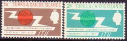 TURKS AND CAICOS ISLANDS 1965 SG #258-59 Compl.set MLH ITU Centenary - Turks And Caicos