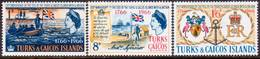 """TURKS AND CAICOS ISLANDS 1966 SG #268-70 Compl.set MH """"Ties With Britain"""" - Turks And Caicos"""