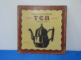 "Plaque Métal ""ORANGE PEKOE TEA"" - Advertising (Porcelain) Signs"