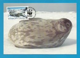 BAT 1992  Mi.Nr. 195 , Weddel Seal - WWF Maximum Card - First Day 20.OCT 92 - Maximumkaarten