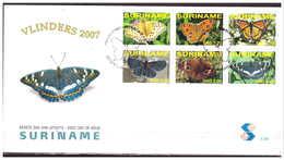 Surinam / Suriname 2007 FDC 301 Vlinders Butterfly Schmetterling Papillon - Suriname