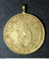 """Très Beau Pendentif Médaille Religieuse Début XIXe """"Sainte Claire D'Assise / Saint François D'Assise"""" Religious Medal - Religión & Esoterismo"""