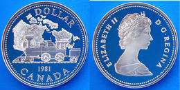CANADA 1 $ 1981 ARGENTO PROOF TRANSCONTINENTAL RAIROAD TRENO ANTICA LOCOMOTIVA DOLLARO PESO 23,23 TITOLO 0,500 CONSERVAZ - Canada