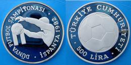 TURKEY 500 L 1982 ARGENTO PROOF SILVER WORLD CUP ESPANA SPAGNA 82 PESO 23,33g TITOLO 0,925 CONSERVAZIONE FONDO SPECCHIO - Turchia