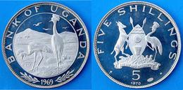 UGANDA 5 S 1970 ARGENTO PROOF SILVER 1000 RARE ENDANGERED WILDLIFE EAST AFRICAN CROWNED CRANE PESO 10g TITOLO 1000 CONSE - Uganda