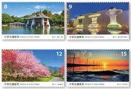 2018 Taiwan Scenery -Taichung Stamps Lake Park Bridge Theater Music Wine Farm Maple Wetland Windmill Sunset - Windmills